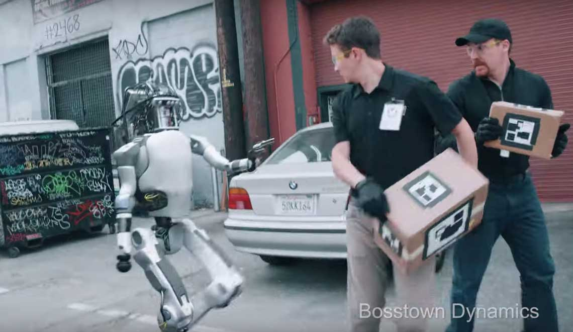 Fake Boston Dynamics video of robot fighting humans