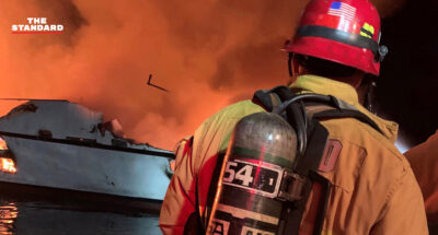 ไฟไหม้เรือนอกชายฝั่งแคลิฟอร์เนีย