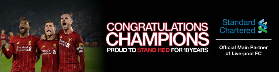 Congratulations Champions : Standard Chartered Official Main Partner of Liverpool FC