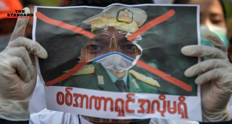 ชาวเมียนมาในไทยชุมนุมหน้า UN ต่อเนื่องเป็นวันที่ 6 ต้านรัฐประหารในประเทศ