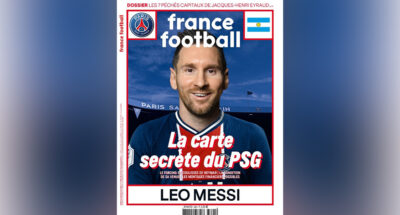 ลิโอเนล เมสซี ในชุดเปแอสเชบนปก France Football แผนปังหรือแผนพัง?