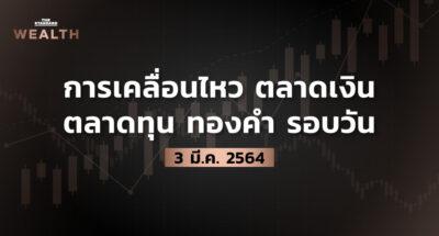 การเคลื่อนไหวตลาดเงิน ตลาดทุน ทองคำ รอบวัน (3 มีนาคม 2564)