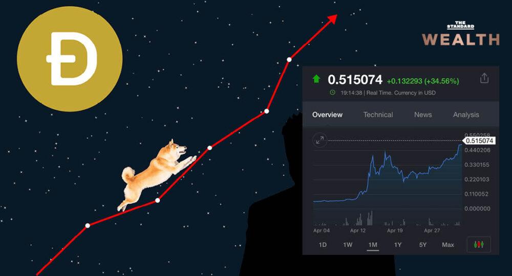 เหรียญหมาน้อย Dogecoin คืนชีพ วันเดียวพุ่งกว่า 35% แตะระดับ 0.515 ดอลลาร์