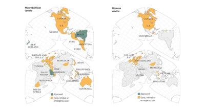 The New York Times นำสีเหลืองในแผนที่ที่ระบุประเทศที่อนุมัติการใช้วัคซีน Pfizer และ Moderna ของไทยออกแล้ว