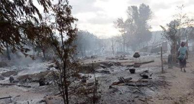 หมู่บ้านในเมียนมาถูกเผา